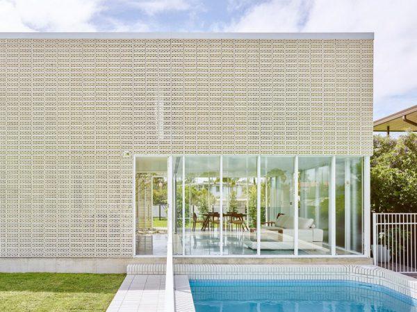 白色現代風通風磚建築案例設計