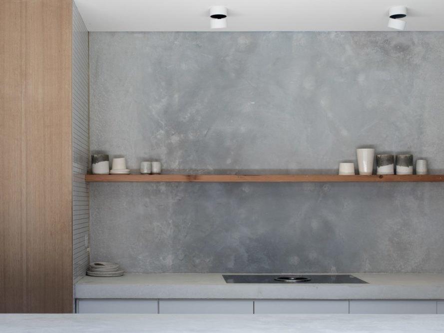 廚房水牆實木層架板收納