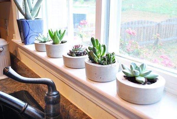 廚房窗戶前小台面放置幾盆水泥小植栽靈感