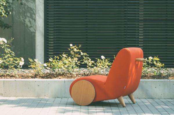 紅色布沙發