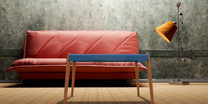 擺放在室內客廳紅色沙發前,當作客廳桌的室內設計樣貌