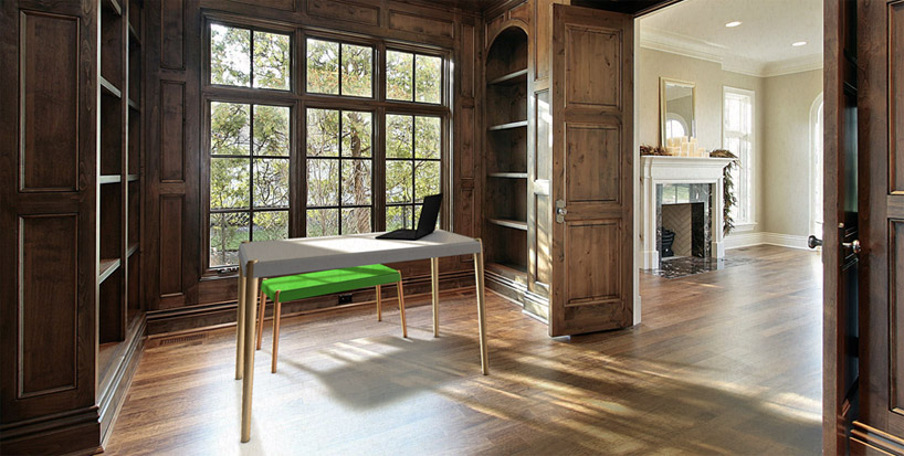 將書桌及長板凳罝於古典書房室內設計的樣子