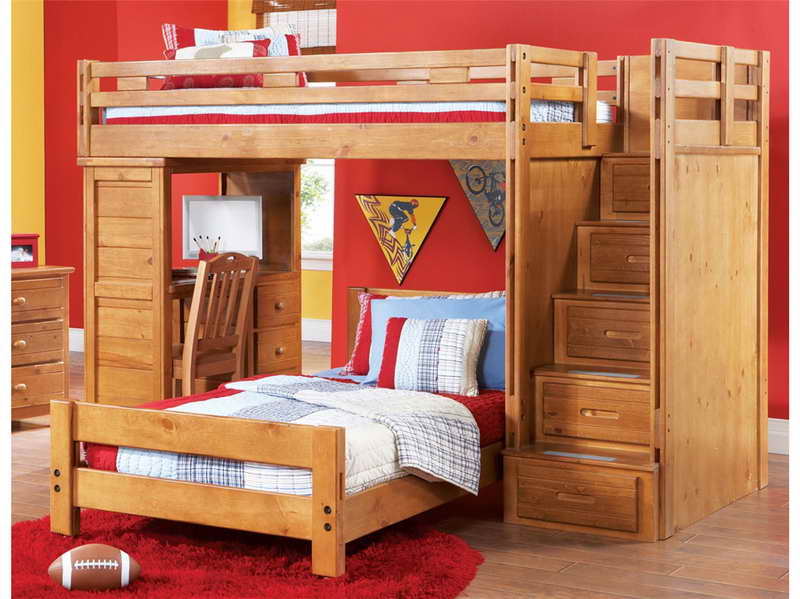 How-to-Build-a-Loft-Bed-with-Desk-Underneath-with-red-wall