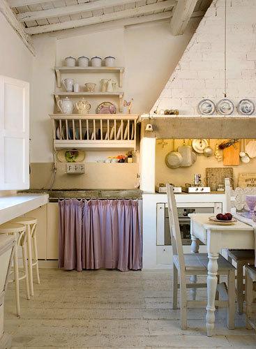 鄉村風白色廚房照片