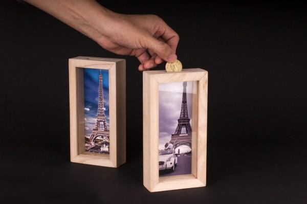 巴黎鐵塔 相框 存錢筒 照片