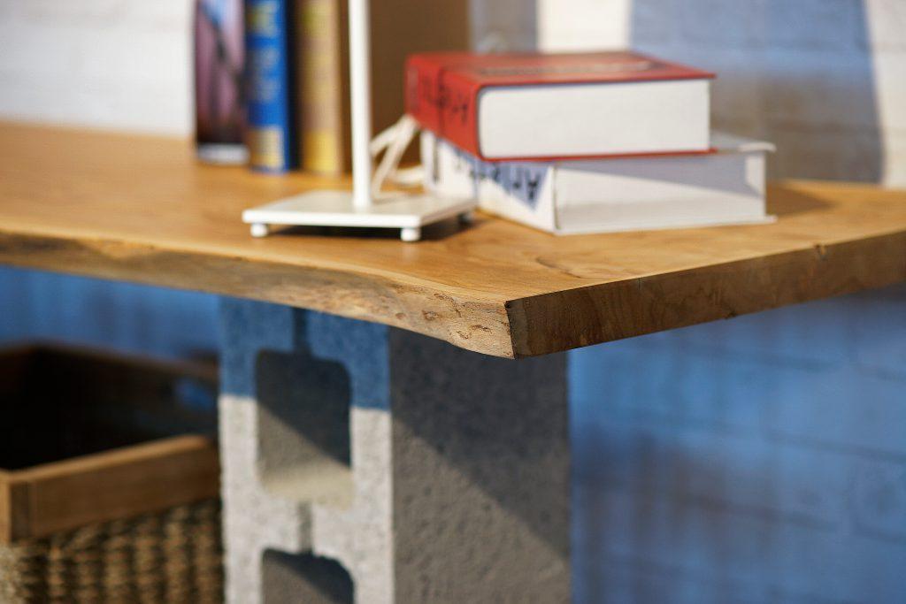 柚木桌板+空心磚DIY示意照