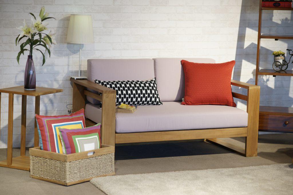 現代柚木沙發 座墊式 含抱枕