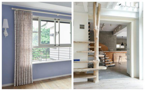活潑窗簾與實木裝潢