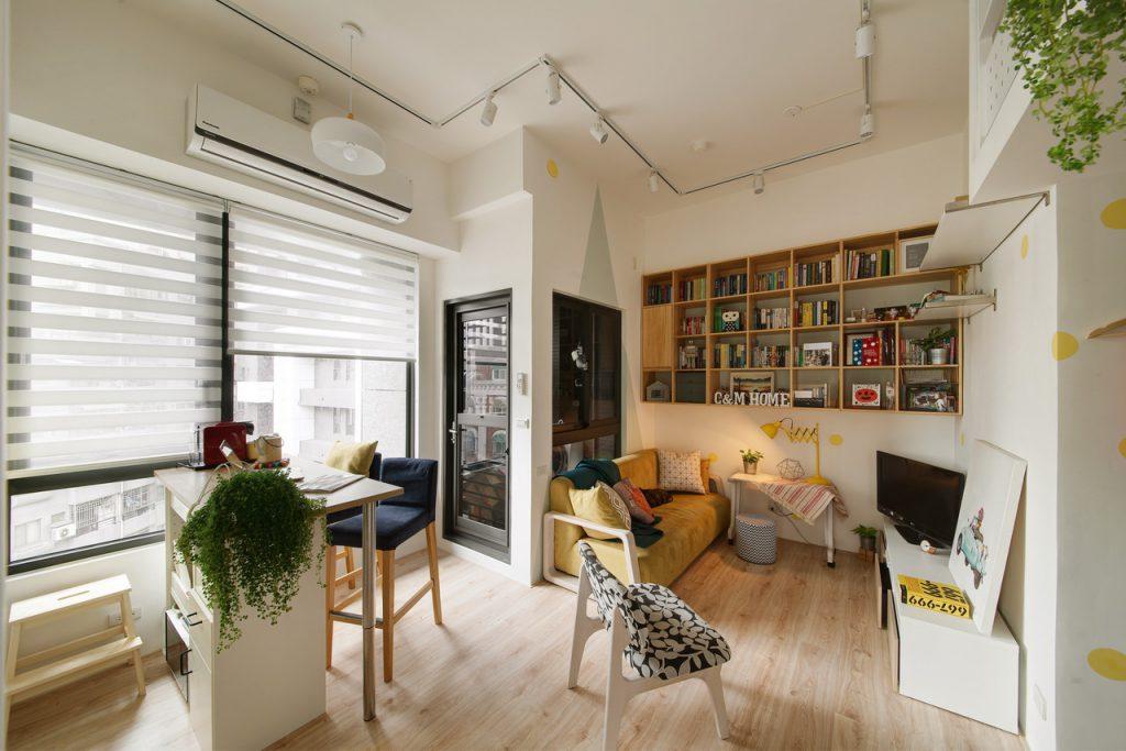 水泥天花板木紋地板客廳