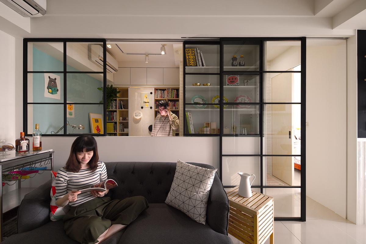 客廳,書房,玻璃窗,玻璃門,開放式