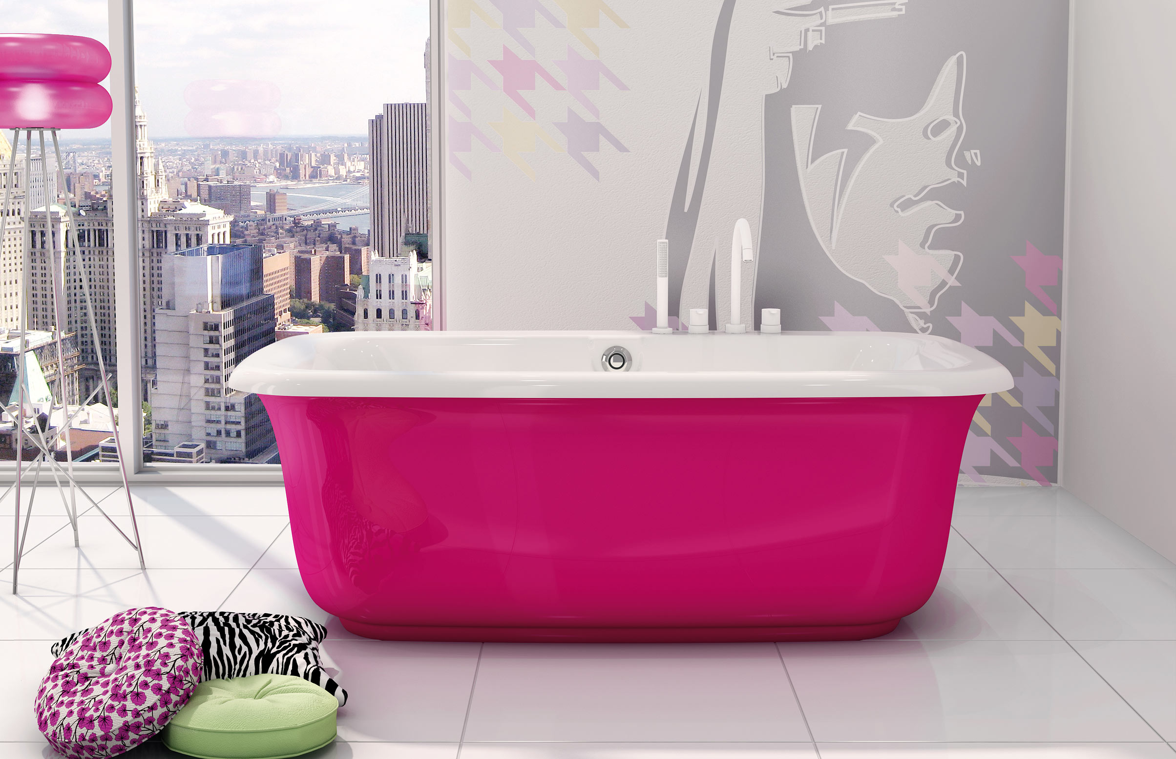 紅色獨立浴缸放置在白色磁磚地板上