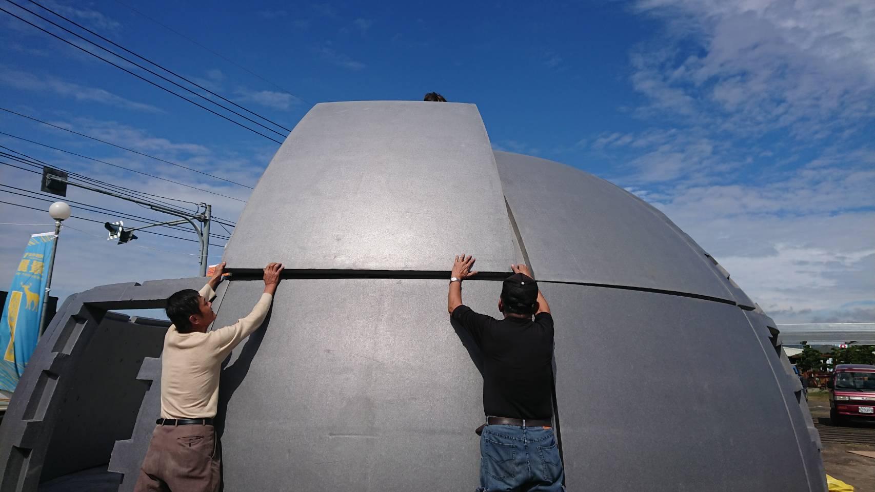 保麗龍建材太空屋組裝情況