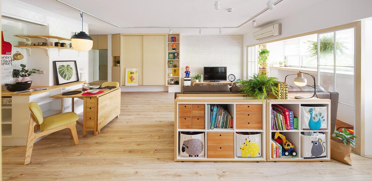 客廳矮櫃隔出不同區域