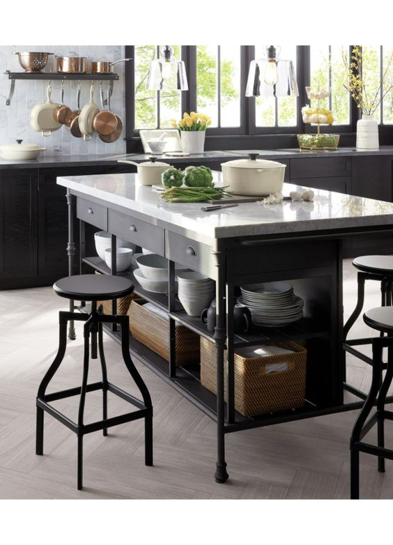 黑色鐵製獨立桌型中島