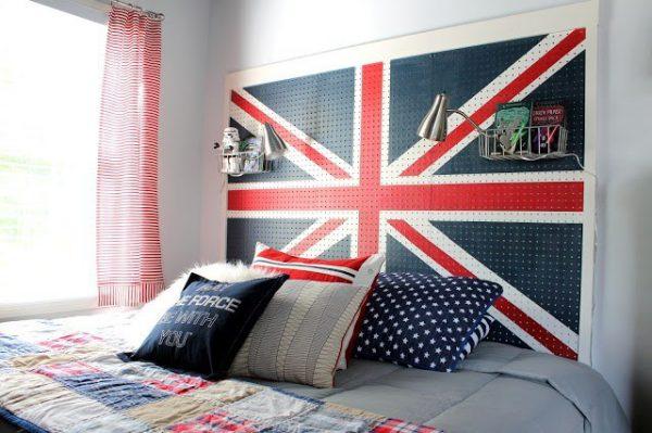 英倫風洞洞板床頭板