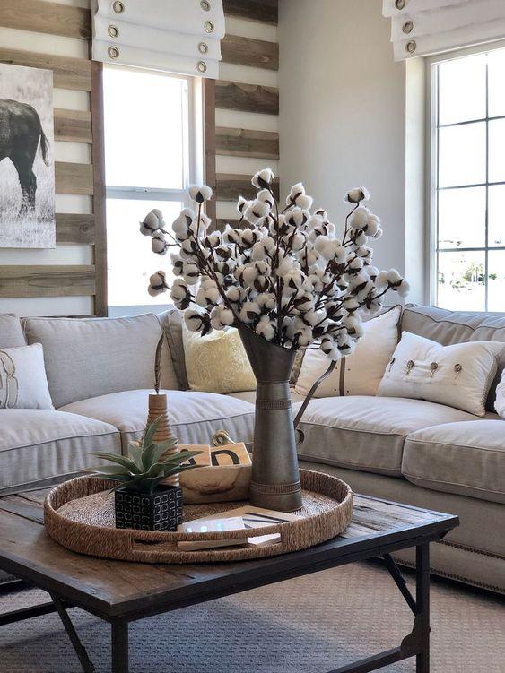 棉花球插花裝飾客廳