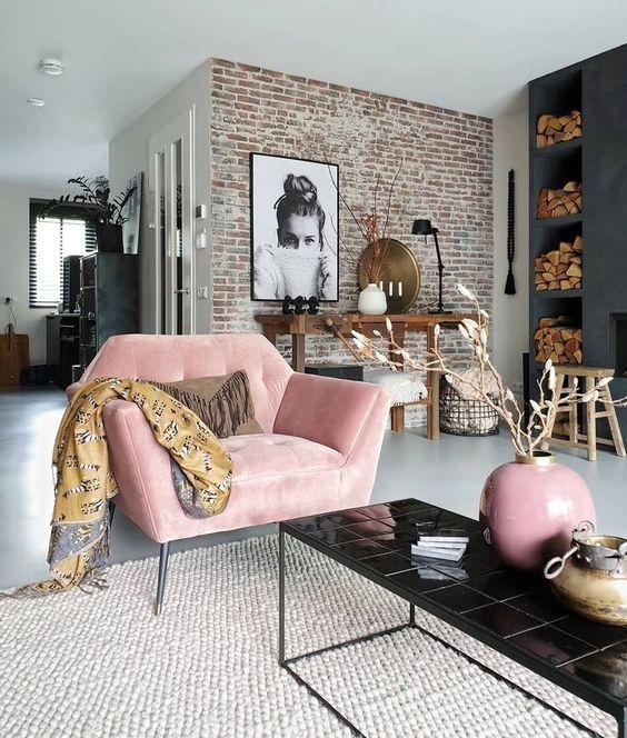 粉紅色單人布沙發