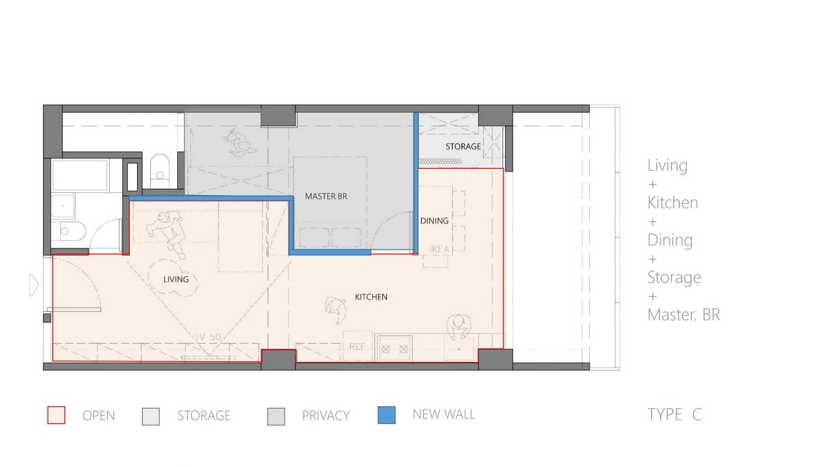 台北火車站老公寓室內設計平面圖