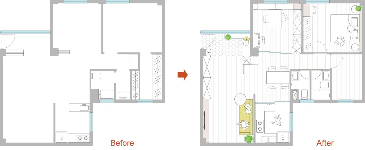 台北45年老公寓裝修後格局平面圖