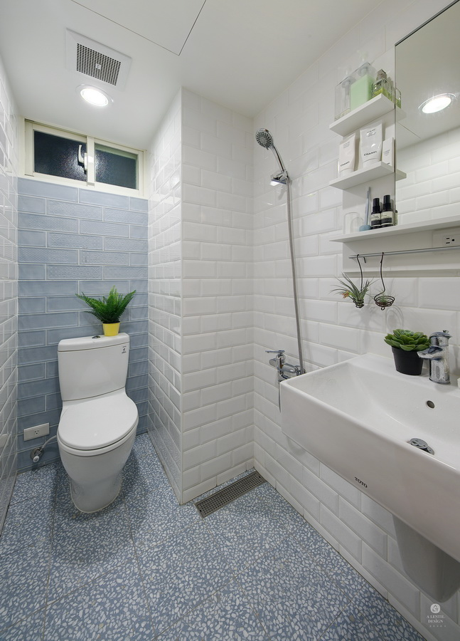 blue floor and white wall tile