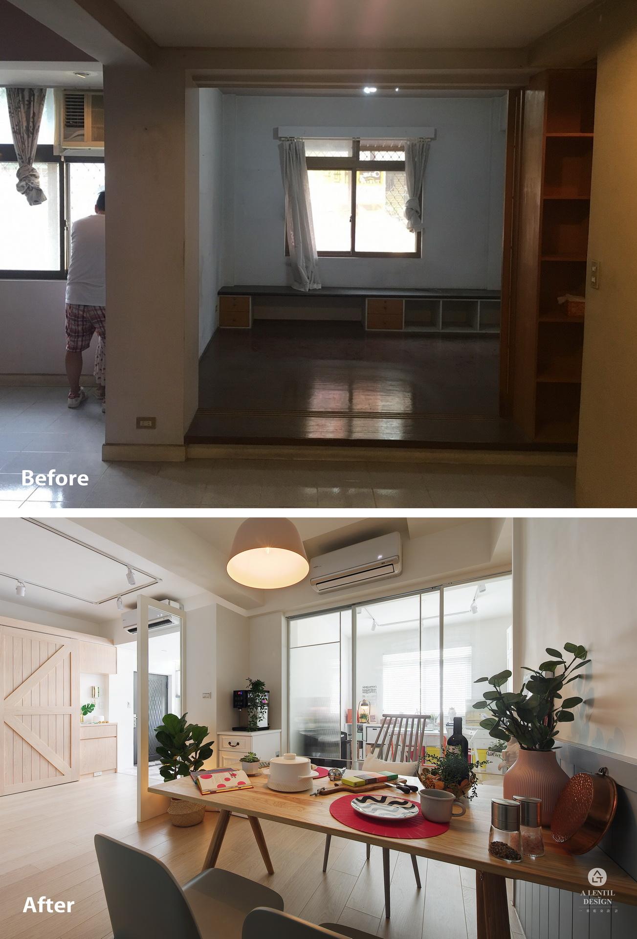 餐廳+和室書房裝修前與裝修後